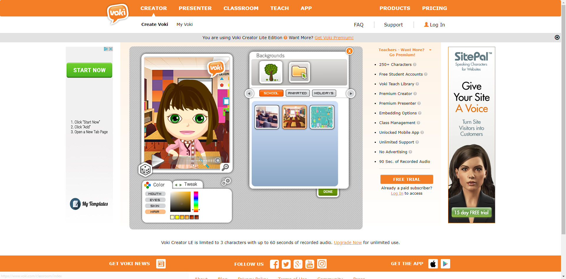 Voki avatar creation