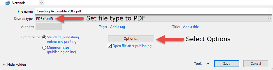 Showing how to set Accessibility options in Word to PDF