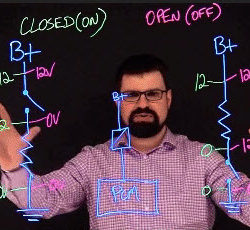 An instructor teaching using the lightboard