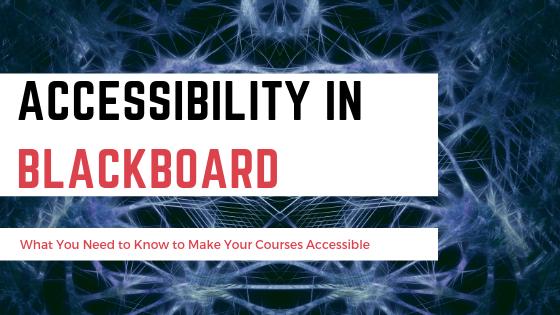 Accessibility in Blackboard