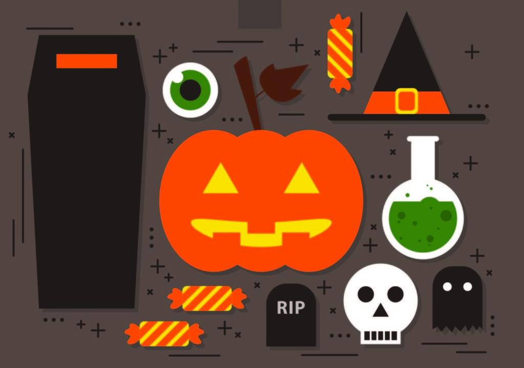 Halloween items like coffin, pumpkin, poison, skull etc