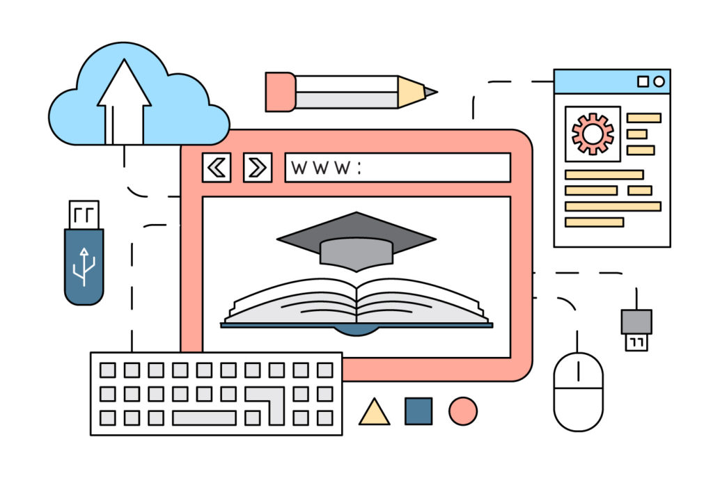 Assorted technology used in learning online or attaining online degree.