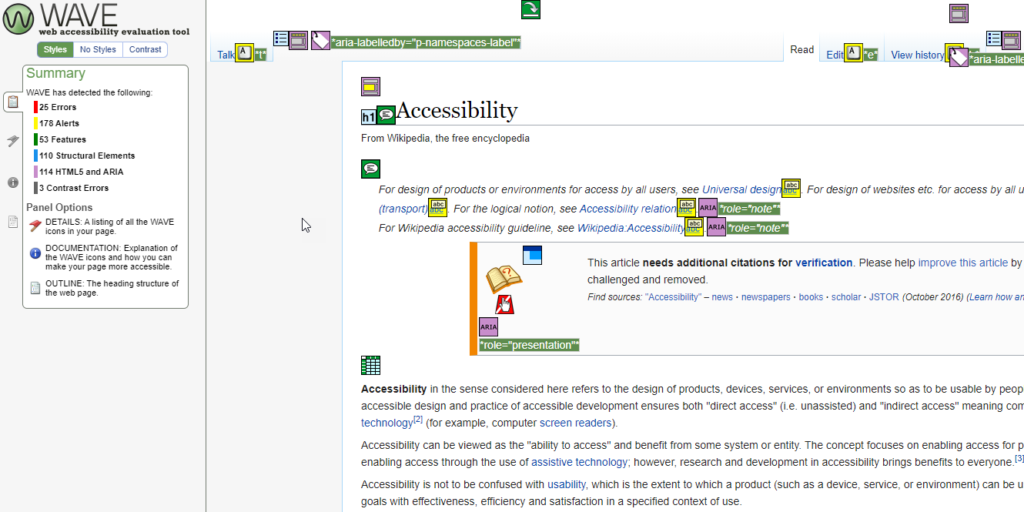 WAVE accessibility checker, showing the tool checking a website for accessibility.