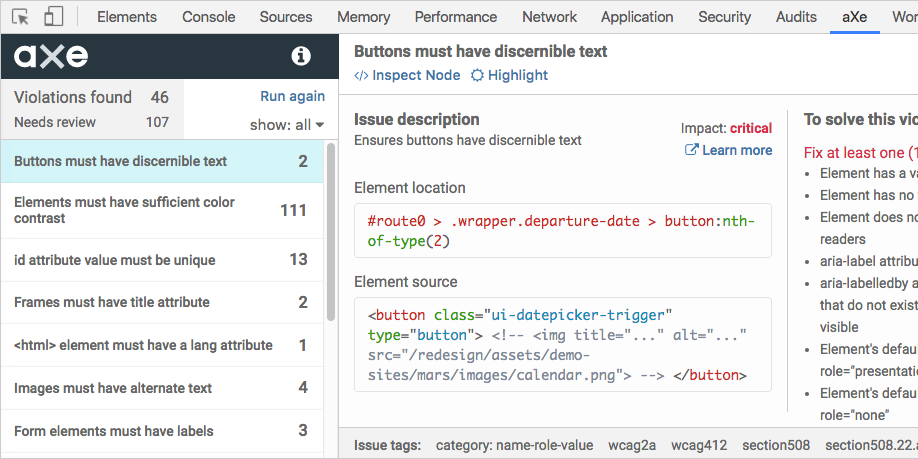 Axe accessibility checker, showing the tool checking a website for accessibility and laying out contrast issues.