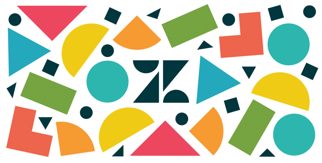 Zendesk logo and random colorful shapes