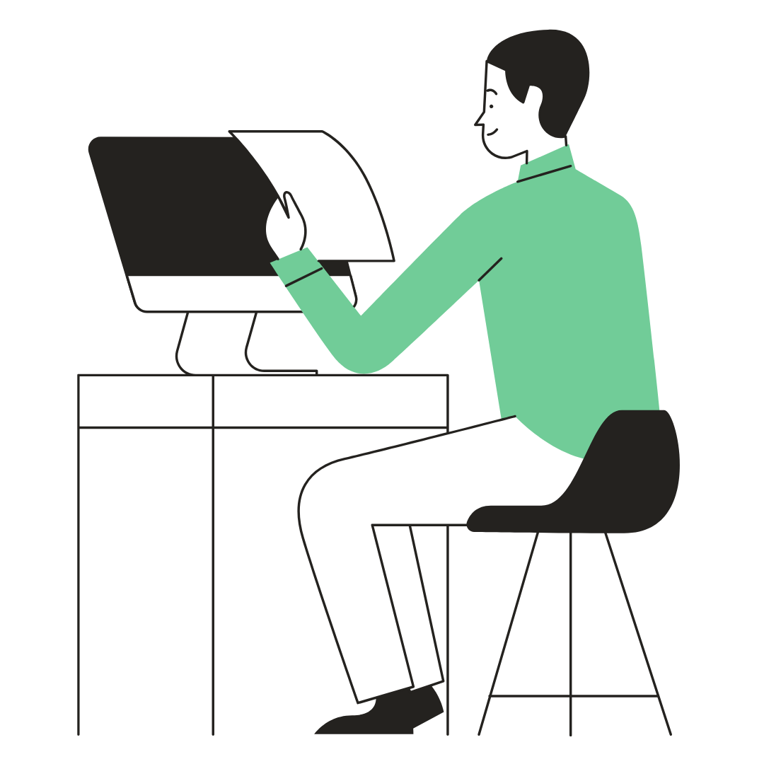 man on computer with paper