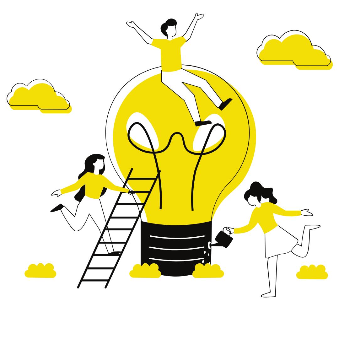 people on lightbulb, watering idea