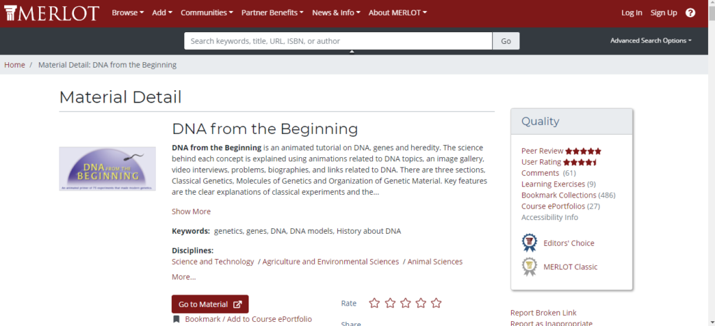"image of the MERLOT site with resource entitled ""DNA from the Beginning"""