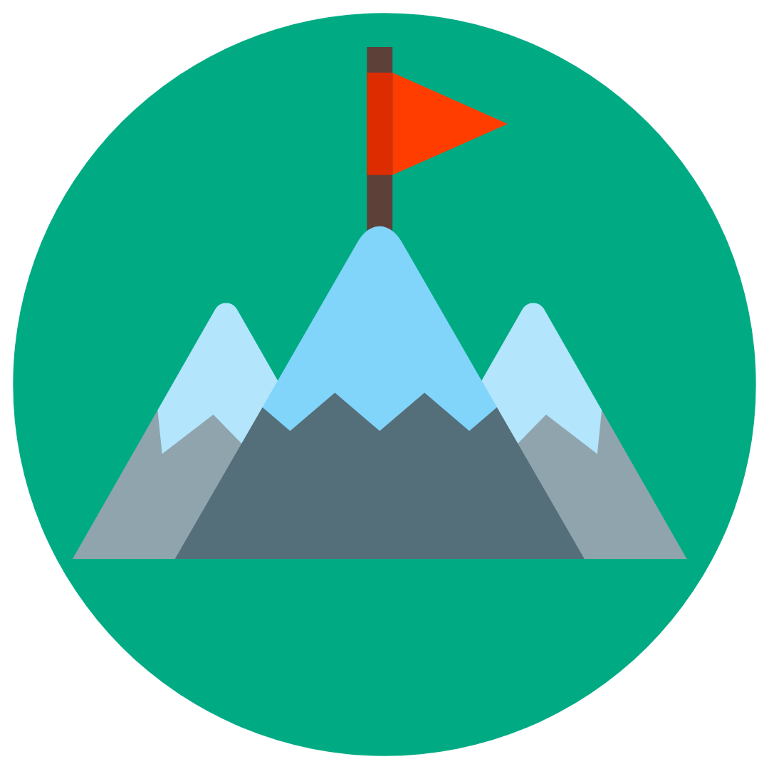 mountain with flag on top