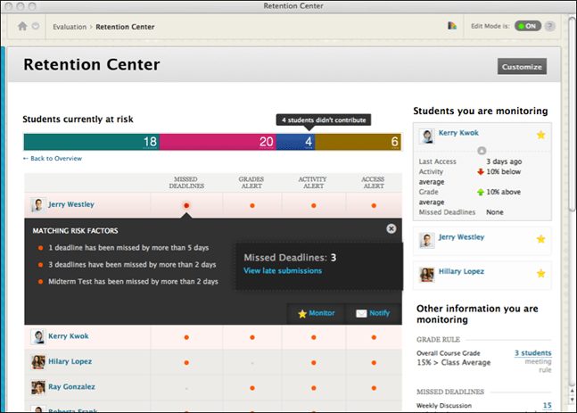 Getting Acquainted with Blackboard's Retention Center